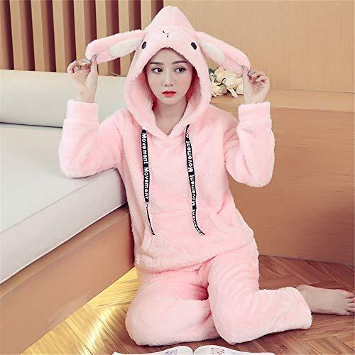 Mujer Para Manga E 2 Otoño Cálido Pijama Piezas Invierno De Suave Terciopelo Conjunto Xxl Larga Coral Franela Baijuxing 7nqvHOx