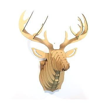 Sunshine DIY 3D Cardboard Deer Head Wall Sculpture For Home Decor Small Brown