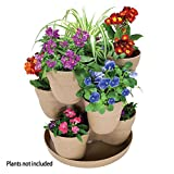 EMSCO Bloomers Stackable Flower Tower Planter – Holds up to 9 Plants – Great Both Indoors and Outdoors – Sand