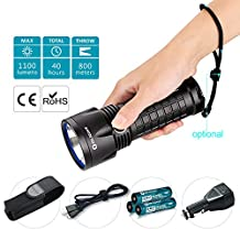 Olight® 1100 Lumens SR52 Ultra Thrower Intimidator LED Flashlights Kit (SR52-UT Kit) Rechargeable LED Torch with Super Bright Cree XP-L HI LED and 3 x 3400mAh 18650 Batteries, 800 meters Beam Distance, USB Charging, Black