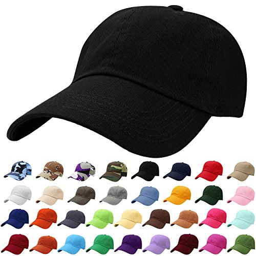 Falari Baseball Cap Hat 100% Cotton Adjustable Size (Black.) 1801