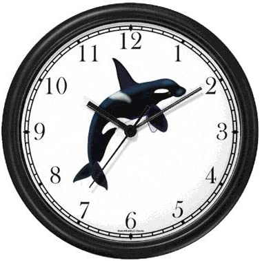 Orca or Killer Whale – JP Wall Clock by WatchBuddy Timepieces Black Frame