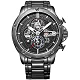 BUREI Men Chronograph Sports Wrist Watches with Black Dial Metal Bracelet