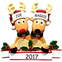 Personalized Cozy Reindeer Family Christmas Ornament (Reindeer Couple)