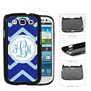 Blue Light Blue Chevron Monogram (Custom Initial) Hard Plastic Snap On Cell Phone Case Samsung Galaxy S3 SIII I9300