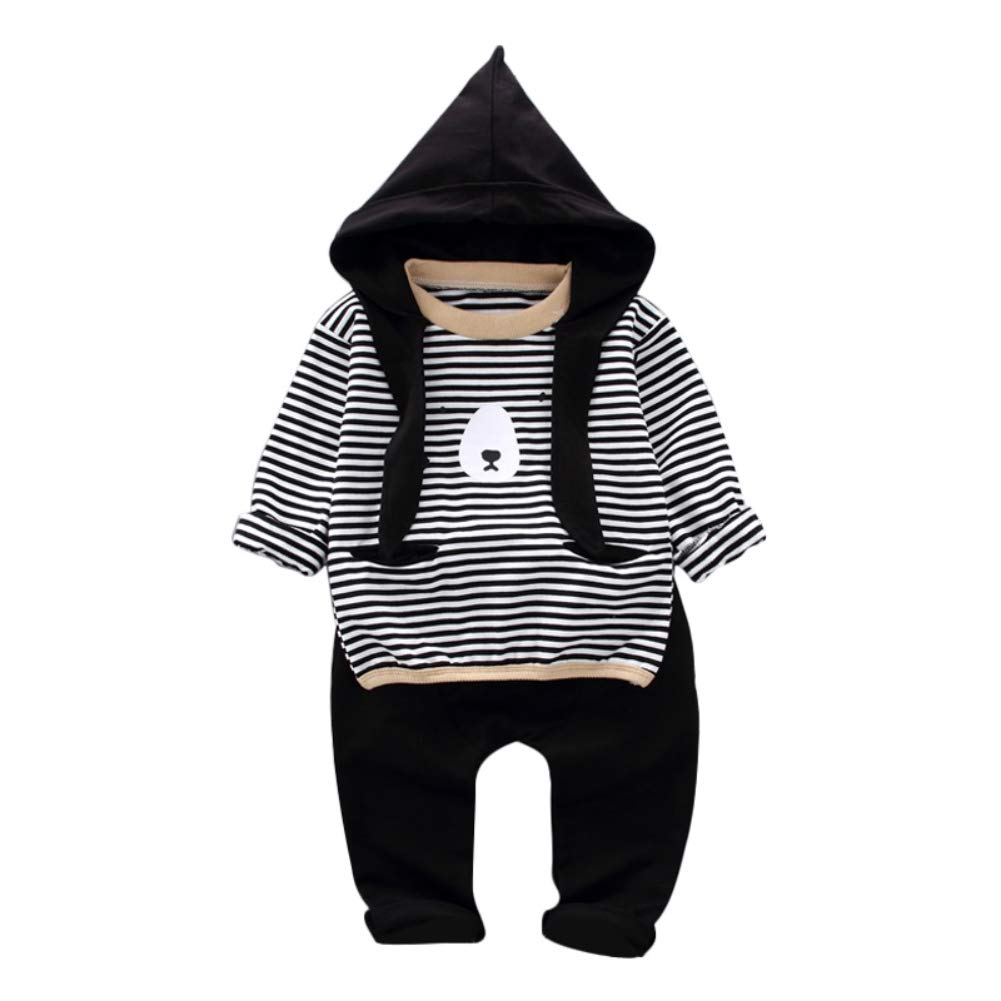 Hotiary Tracksuit 2-Piece Outfit Long Sleeve Hoodie Tops and Pants Costume Set for Baby Boy (0-4Y) Black by Hotiary