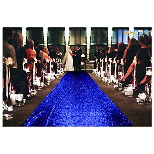 ShiDianYi Sequin Aisle Runner-Royal Blue-36Inchx15Feet Wedding Sequins Carpet Aisles Floor Runner (Royal Blue)