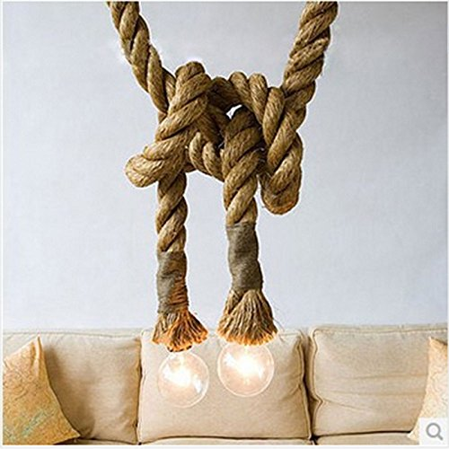 Braided Ceiling Light (Leoie Vintage Rustic Hemp Rope, Creative Ceiling Chandelier Hanging Lights Wiring for Home Bar Public Places Decor Arts Crafts DIY Gift Wrapping Dual 1.5M)
