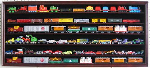 Large HO, N Scale Trains, Hot Wheels, Toy Cars, Minifigures Display Case Rack Wall Cabinet Wall Shadow Box w/ UV Protection- Lockable (Mahogany Finish) -