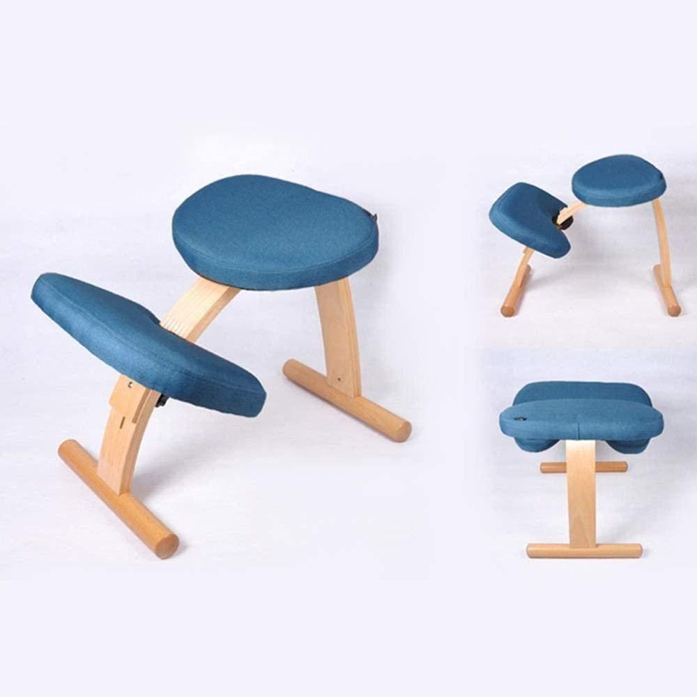 Justerbar ergonomisk kontorsstol linne tyg student anti-puckel knästolar barn korrigerande hållningsstol knästol (färg: Blå) Brons
