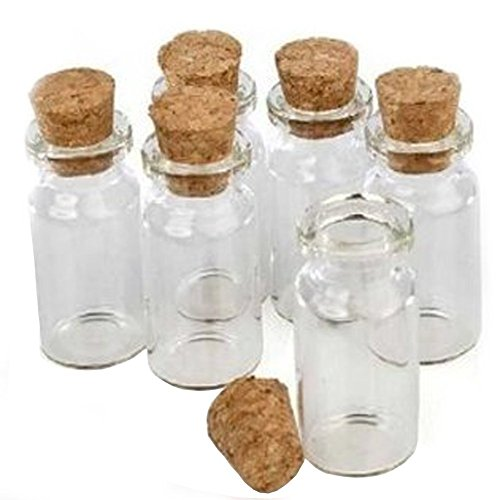 Small Glass Mini Bottles of 1.5' length 24pk Charms Favors Weddings with Cork Top