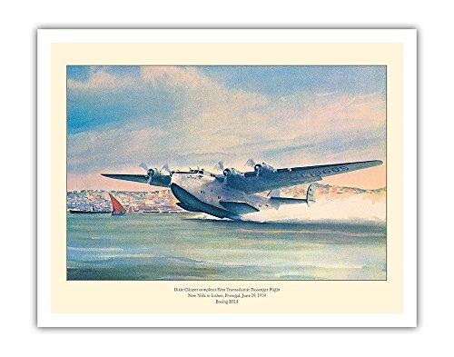 - Pacifica Island Art Dixie Clipper - First Transatlantic Passenger Flight - Pan American Airways - Boeing B-314 - Vintage Airline Travel Poster by John T. McCoy c.1939 - Fine Art Print - 11in x 14in