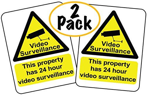 (Video Surveillance Sign | 2 Pack | This Property has 24 Hour Video Surveillance | US Letter Size 8 1/2