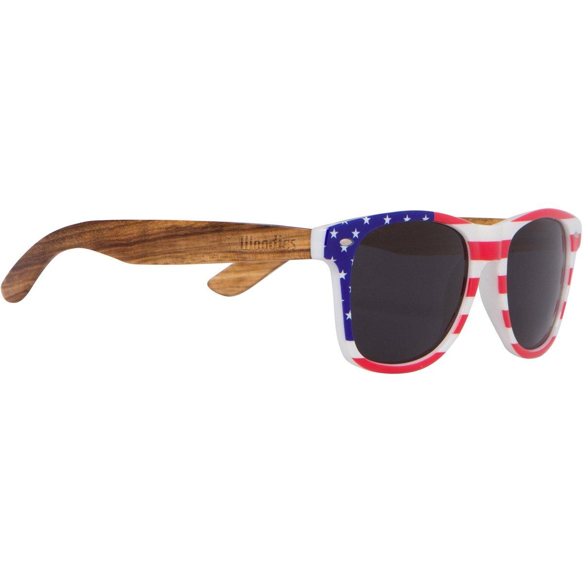 WOODIES Zebra Wood Polarized Sunglasses with American Flag Frame