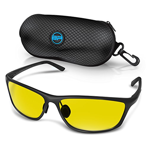 BLUPOND RALLY Night Vision Polarized Sunglasses, Metal Frame Glasses for Driving Fishing Shooting with Anti-Glare UV400 Lenses Includes 5 IN 1 Accessories - Style Glasses Aviator Shooting