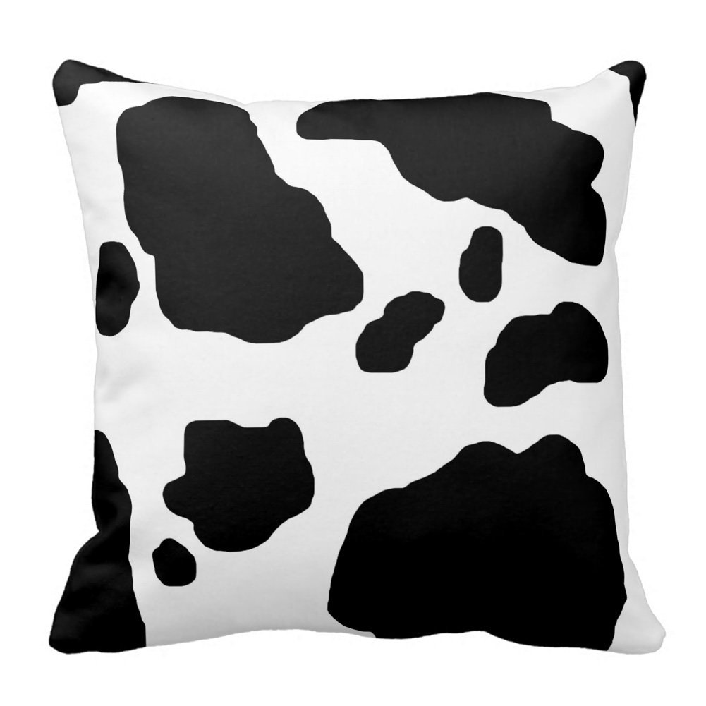 c26f9c7d989 Amazon.com  Tshirts-Online Black and White Cow Print Throw Pillow Case  Decorative Accent Cushion Cover Pillowcase Decor Square Zippered  Home    Kitchen