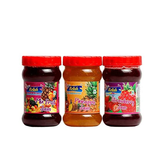 SFP RELISH 200gm Strawberry, Pineapple, Mixed Fruit Jam Total - 3