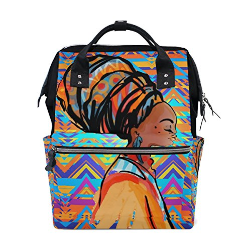 Backpack School Bag Africa Woman Art Canvas Travel Doctor Style Daypack by WIHVE