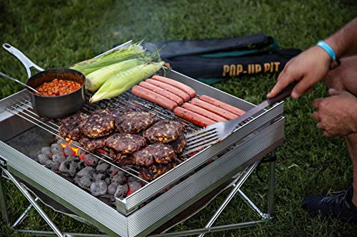 (Campfire Defender Protect Preserve Pop-Up Fire Pit - Portable Outdoor Fire Pit/BBQ Grill - Cook with Charcoal, Wood, Or Pellets - Over 350sq Inches of Cooking Space (Tri-Fold) )
