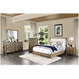 Contemporary Leatherette HB Platform Bed Beautiful Bedroom Furniture 4pc Set  California King Size Bed Dresser Mirror
