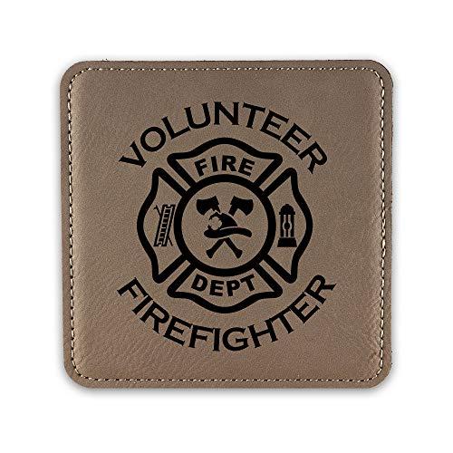 Volunteer Fightfighter Drink Coaster Leatherette Coasters fire dept firefighter maltese cross - Light Brown - One - Brown Maltese Cross