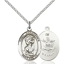 Sterling Silver Saint Christopher Army Medal Pendant, 3/4 Inch