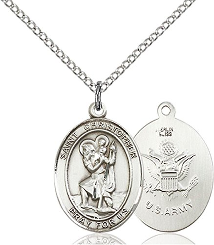Army Military Medal (Sterling Silver Saint Christopher Army Medal Pendant, 3/4 Inch)