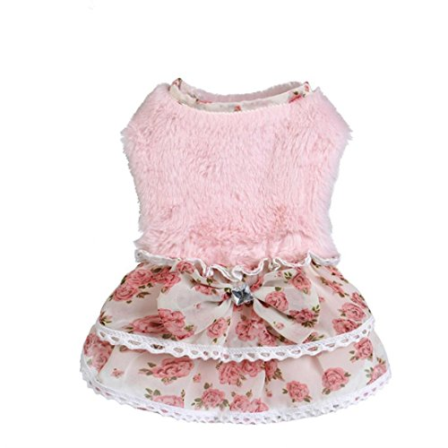 Howstar-Pet-Dress-Puppy-Elegant-Lovely-Clothes-Outfit-Party-Floral-Lace-Skirt-Soft-Warm-Sweater