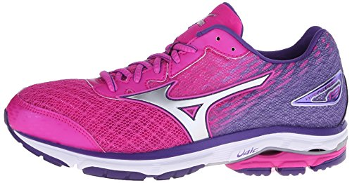 Mizuno Women's Wave Rider 19 Running Shoe, Fuchsia Purple/Silver, 7.5 D US