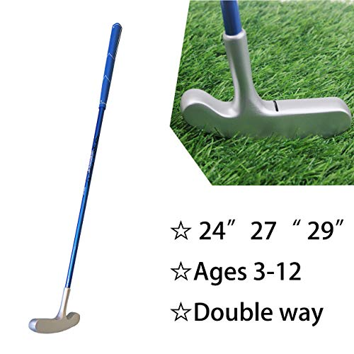 - Kofull Kids Junior Golf Putter Double Way Zinc-Alloy Head Graphite Shaft Rubber Grip 24inch 27inch 29inch for Choice (27inch, Blue)