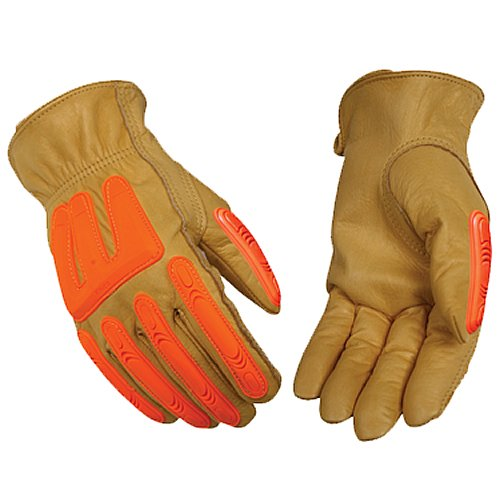 KINCO 98A-XL Men's Impact Protection Unlined Grain Cowhide Gloves, Bright Molded PVC, X-Large, Orange
