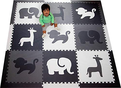 (SoftTiles Kids Foam Play Mat - Safari Animals Theme- Nontoxic Puzzle Play Mats for Children's Playrooms or Baby Nursery- Large Floor Tiles for Crawling- Size 6.5 x 6.5 ft (Black, Gray, White) SCSAFBGW)