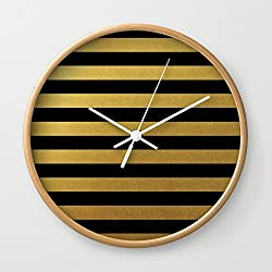 Society6 Black Gold Bold Stripes Wall Clock Natural Frame, White Hands