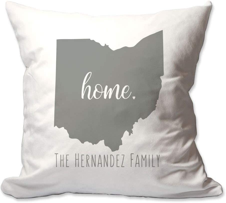 Pattern Pop Personalized State of Ohio Home Throw Pillow Cover - 17X17 Throw Pillow Cover (NO Insert) - Decorative Throw Pillow Cover - Soft Polyester