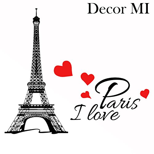 Decor MI Eiffel Tower I Love Paris Waterproof Removable Wall Decal Stickers for Living room Bedroom Bathroom Kitchen Office Background Wall Art Wallpaper 15x9 inch (Tower Office Post)