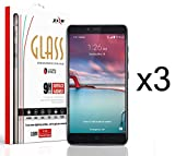 ZTE Max Duo LTE Z963VL / Z962BL - 3 Pack - Premium [Transparent HD Ultra Crystal Clear] Tempered Glass [0.33mm 9H Hardness] Screen Protectors and Atom LED