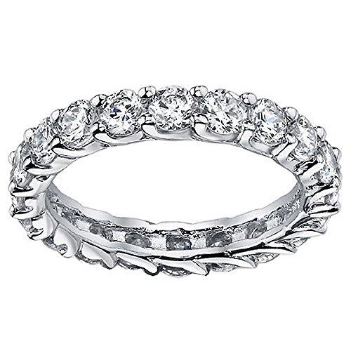 VIP Jewelry Art 2.00 CT TW Diamond Braided Prong Anniversary Eternity Band in Low Profile Platinum Setting - Size 4 (Diamond Band Eternity 2ct Tw)