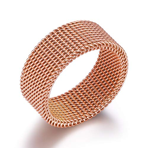 VQYSKO 18K-Rose-Gold-Stainless-Steel Circle Woven Mesh Rings for Women Men Jewelry Wedding Rings Size 6 to 10 (9)