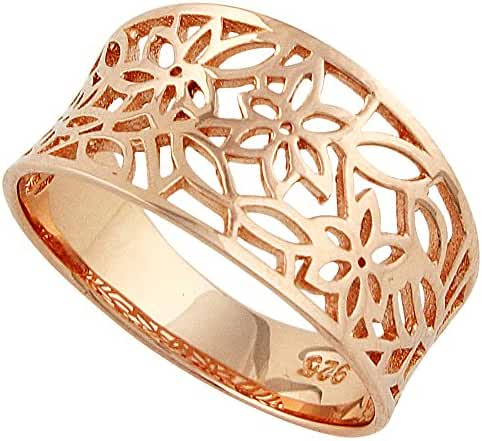 Sterling Silver Rose Gold-Tone Plated Victorian Style Leaf Filigree Vintage Ring (Sizes 3-15)