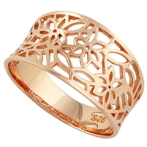CloseoutWarehouse Sterling Silver Rose Gold-Tone Plated Victorian Style Leaf Filigree Vintage Ring Size 8