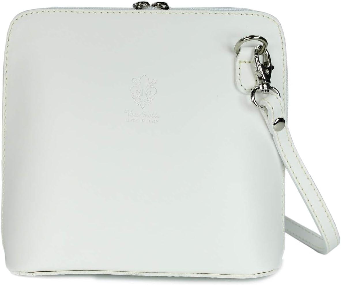 Belli ital. Ledertasche Damen Umhängetasche Handtasche Schultertasche - 17x16 - Weiße Handtasche