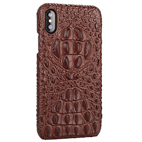 iPhone Xs MAX Genuine Leather (Crocodile Head) Case Cow Cover Real Leather Alligator Skin Texture[Ultra Slim Handmade] New Slim Design Back Cover for iPhone Xs MAX 6.5inch (Brown, XS MAX)