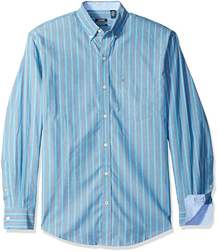 IZOD Men's Striped Essential Woven Shirt, saxony blue, X-Large