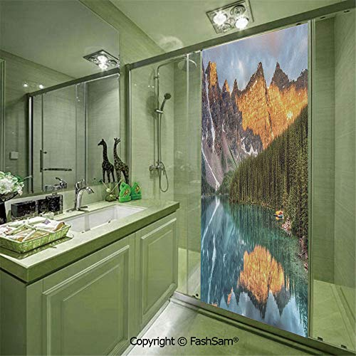PUTIEN Door Glass Sticker Moraine Lake Canadian Mountain Range with Creek Pine Forest Mother Earth Scenery for Bedroom Glass Privacy(W11.8xL35.4)