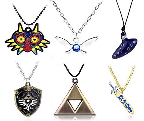 Zelda Costume Ocarina Of Time (6pcs Inspired Necklaces Trioforce,Majora's Mask,Navi Necklace,Shield,Sword & Flute Blue Instrument)