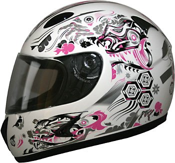 Face Dragon Full (HCI 75 Women's Full Face Helmet with Dragon Graphics (Pink/White, X-Small/Size 01))