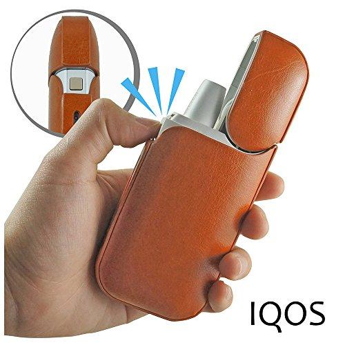 MONOJOY - iqos Fall Tasche Leder PU professionelle elektronische Zigarettenetui wasserdicht Staub Regen schützen für iqos, tragbar, leicht (Rot) Braun