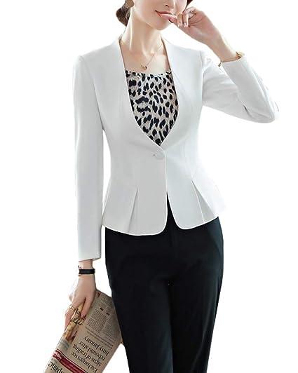 Mujer De Un Solo Pecho Blazer Abrigo Traje Slim Fit Elegante ...