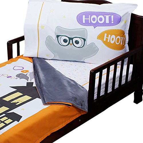 3pc RoomCraft Halloween Boo Buddies Toddler Bedding Set Holiday Blanket Sheet and Pillowcase (Dreamland Halloween)
