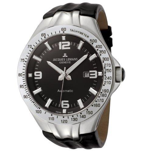 Jacques Lemans Men's GU218A Geneve Collection Tornado Automatic Black Leather Watch